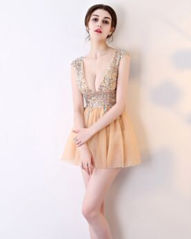 Sequin Cocktail Party Dress Sparkly Tulle Crystal Short Backless 2019 Sleeveless