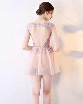 Cocktail Dress Open Back Sequin Sleeveless See Through Club Dress Fit And Flare Plunge Sparkly Party Dress