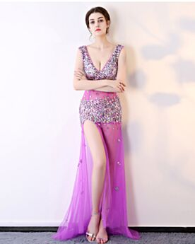 Long Red Carpet Dress Open Back Sequin Split Front Lilac Club Dress Plunge Fit And Flare Sexy Prom Dresses See Through Sparkly