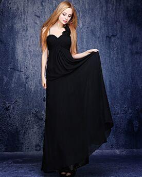 Empire Open Rug Chiffon Bruidsmeiden Jurken Simpele Elegante Zwart