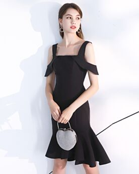 Little Black Dress Simple Backless Black 2019 Ruffle Semi Formal Dress Knee Length Cocktail Party Dress