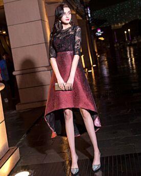 Acampanados A La Rodilla Brillantes Vestidos De Coctel Encaje Color Burdeos Transparentes Vestidos Semi Formales High Low