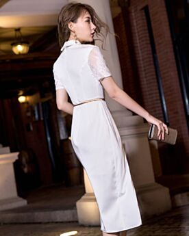 2019 Lace Graduation Dress White Elegant Wrap Semi Formal Dresses