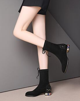 Enkellaarsjes Ronde Neus 3 cm Kitten Heels Leren Stretch Zwart Suede Blokhakken Met Kristal Sock Boots