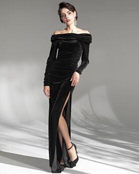 Pleated Black Wedding Party Dresses Velvet Formal Evening Dress Sheath Vintage Modest