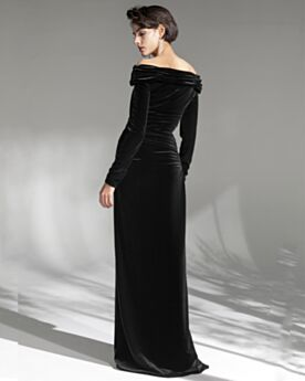 Longue Fourreau Epaule Nu Col Carré Plissée Fendue Manche Longue Robe Soirée Noir Velours Originale Robe Ceremonie Pour Mariage