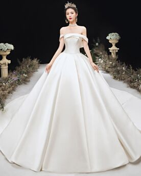 Wedding Dress Off The Shoulder With Train Vintage Church White