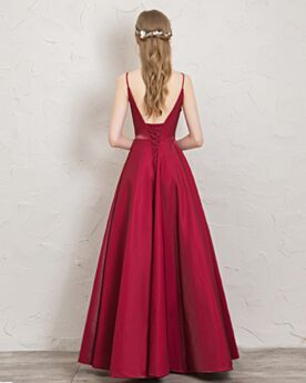 Long Evening Dresses Backless Homecoming Dress Low Cut Sleeveless Burgundy Simple