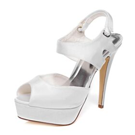 Elegant White Spring Bridals Wedding Shoes Satin 5 inch High Heeled Platform Peep Toe Stiletto Sandals For Women