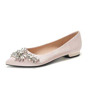 Ballerine Femme Confort Cristal Élégant Chaussure De Mariée Plates Bout Pointu Or Champagne