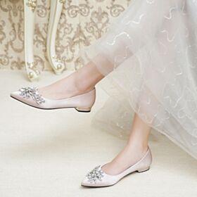 Comfort Ballerina Platte Kristal Bruidsschoenen Satijnen Elegante Runtige Neus Champagne