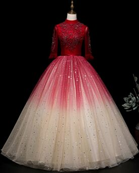 Ombre Quinceanera Dress Backless Half Sleeve Prom Dress Long Turtleneck Red