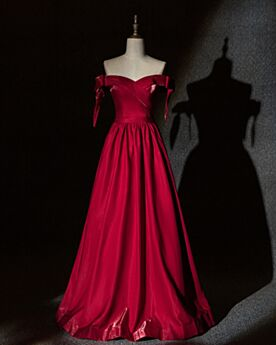 Formal Dresses Long Burgundy Pleated Off The Shoulder Charming Sweetheart A Line Bridesmaid Dress For Wedding Backless Simple