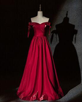 Off Shoulder Abendkleid Schlichte Brautjungfernkleider Elegante A Linie Lange Satin Kurzarm