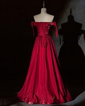 Vestidos De Noche Largos Color Vino Sencillos Vestidos De Damas De Honor De saten Escote Corazon Lazo Elegantes Espalda Descubierta