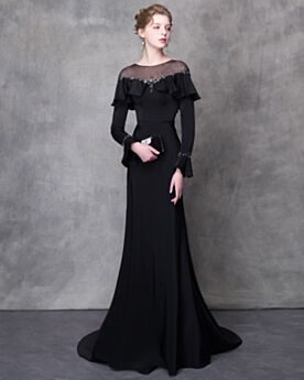 Long Sleeve Crystal With Train Transparent Tulle Evening Dresses Off The Shoulder Long Sheath Bell Sleeve Black Scoop Neck Beautiful Chiffon