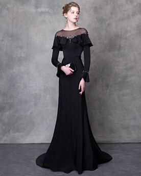 Tüll Modest Schulterfreies Abendkleid Glockenärmel Schwarz Lange Ärmel Bleistift Perlen