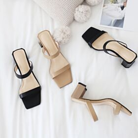 Strappy Sandals For Women Leather Chunky Heel Black