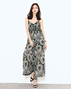 Dark Green Bohemian Wide Leg Slip Jumpsuit Chiffon Summer Smock Backless High Waisted Pants Jumpsuits