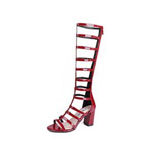 Chunky Heel Sandaletten Mittel Heel Römers Leder Rot Damenschuhe Mit Absatz Kniehohe Stiefel Sexy