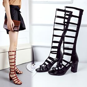 Gladiator Sandals Chunky Heel Patent Block Heels Red Going Out Shoes Mid Heels Heeled Leather Knee High Boots