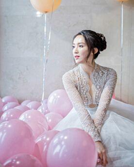 Lange Perlen Lange Ärmel Weiß Kirche Mit Schleppe Fit N Flare Luxus Brautkleid