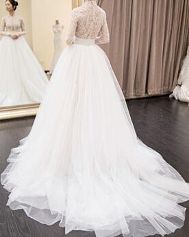 Printemps Évasée Manche Longue Blanche Robe De Mariage Longue Luxe