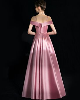 2018 Long Prom Dresses Spaghetti Strap Off The Shoulder Evening Dress Light Pink Vintage Princess Backless Bow
