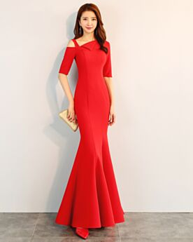 Mermaid Simple Red Formal Dresses Wedding Guest Dresses Elegant One Shoulder Cute Out