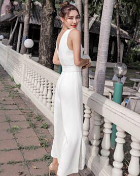 Con Fiocco In Cotone Lunghi Pantaloni Larghi Grembiule Schiena Scoperta Bianco Casual Tutone Elegante