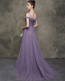 紫 二次会 ドレス Aライン フォーマル イブニングドレス バックレス エレガント 半袖 プロムドレス 2419250928