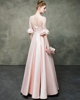 Princess Blushing Pink Elegant Prom Dresses Satin Open Back Bell Sleeved Long Cute