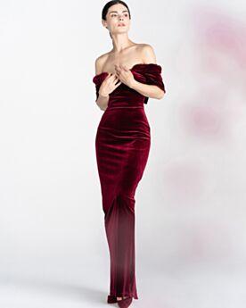 Split Koker Off Shoulder Avondjurken Jurken Voor Bruiloft 2020 Strapless Vintage Fluwelen Bordeaux Elegante Aangepaste