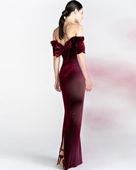 Evening Dress Long Burgundy Off The Shoulder With Bowknot Sheath Wedding Party Dresses Slit Sleeveless Backless Charming Velvet Strapless