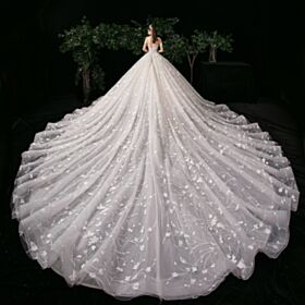 White Princess Bridals Wedding Dress Charming Lace Long Sleeves With Train Open Back Long Low Cut