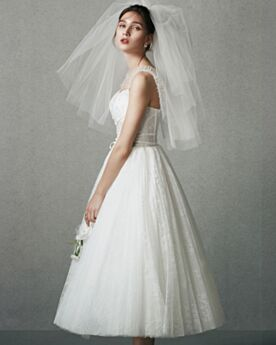 Tea Length Fit And Flare Tulle Cute Spaghetti Strap White Sleeveless Bridals Wedding Dress Beach Lace Reception