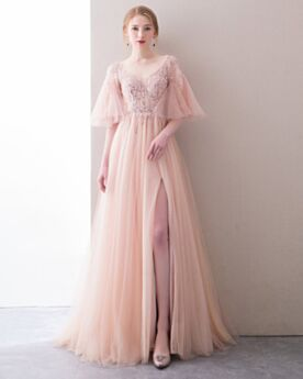 Robe De Bal Robe Ceremonie 2020 Dos Nu Rose Pale Princesse Chic Tulle Robes De Soirée