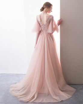 Beading Beautiful A Line Bell Sleeved Sweet 16 Dress Slit Tulle Long Prom Dress Pearl Pink Beautiful Occasion Gowns