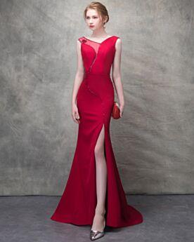 Bleistift Mit Schleppe Tüll Lange Transparentes Sommer Abendkleid Perlen Rot 2018 Elegante Sexy Ärmellos Rückenausschnitt