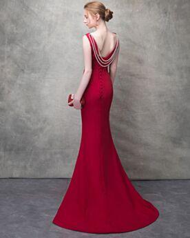 Corte Sirena Vestidos Fiesta De Noche Con Cuentas Sin Espalda Transparente Sexys Rojo Escote V Largos De Tul Charmeuse