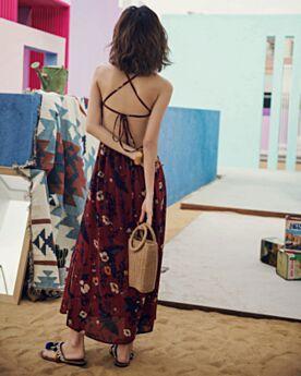 Druck Prinzessin Chiffon Sexy Sommer Kleid Bohemian Burgunderrot Rückenausschnitt Trägerkleid