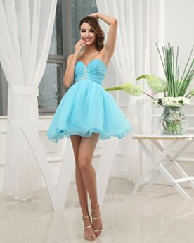 Simple Cute Teens Cocktail Dress Organza Bandeau Fit And Flare Graduation Dresses Beaded Backless Sky Blue