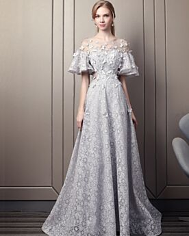 Backless 2018 Bell Sleeved Formal Dresses Lace Bohemian Sweet 16 Dresses Summer Beautiful Gray Fit And Flare