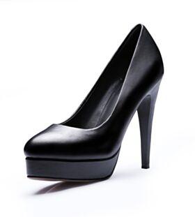 Negro Vestido Para Trabajo De Punta Fina Stiletto De Suela Roja Tacon Alto Zapatos Con Tacon Piel
