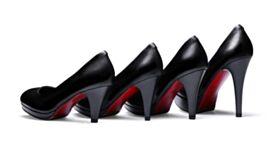Business Schuhe High Heel Stilettos Spitz Zeh Rote Sohle Pumps Klassisch Leder Schwarz Mit Absatz 3 inch