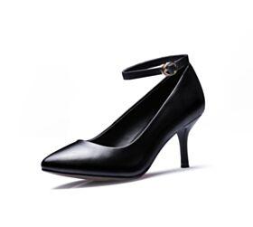 Stilettos Casuales Clasico Piel Tacon De 7 cm Negro De Suela Roja Vestido Para Oficina Zapatos