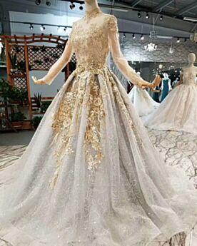 Gouden Luxe Hoge Kraag Geborduurde Bruidsjurken Kanten A Lijn Kralen Doorschijnende Lange Mouw