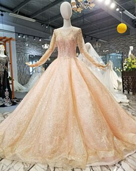 Sparkly Long Sequin Engagement Dresses Fringe Luxury Long Sleeve Ball Gowns Quinceanera Dress