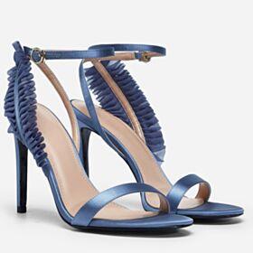Tacco Alto 10 cm Sandali Cinturino Alla Caviglia Di Raso Con Balze Celeste Con Tulle
