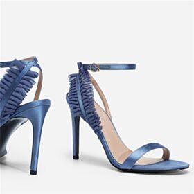 High Heel Satin Knöchelriemen Riemchen Stilettos Abendschuhe Sandaletten Himmelblau 2019